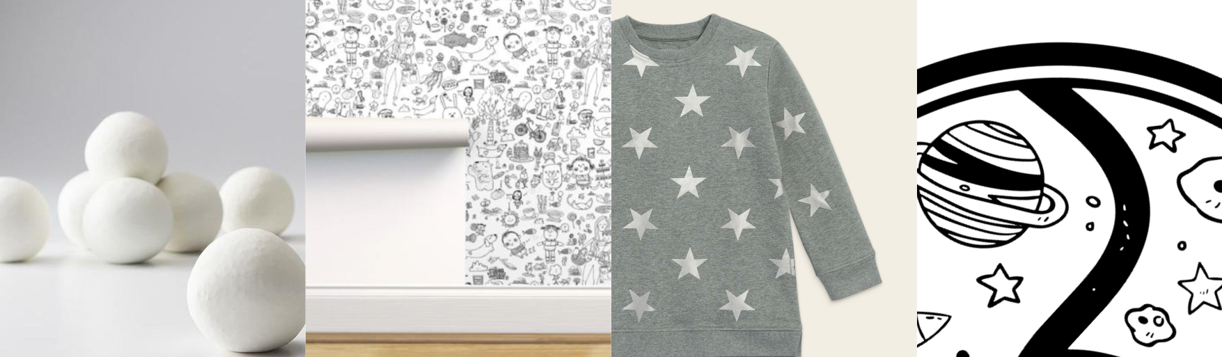 white play snowballs, black and white illustrated wallpaper, gray sweater with silver stars, black and white space playmat