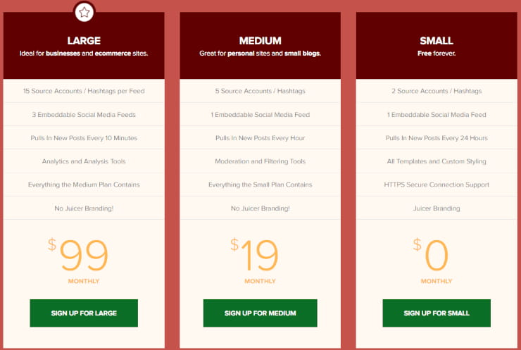Juicer pricing for Facebook embed and more