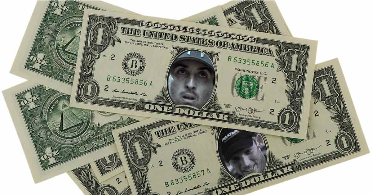 Paul McBeth and Ken Climo's faces on dollar bills where Washington's normally would be