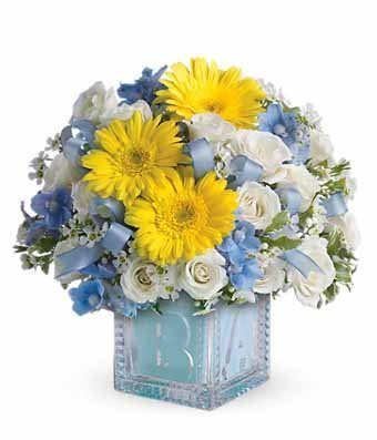 Blue and Yellow Flowers in Light Blue Cube