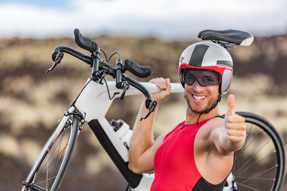 NYC triathlon biker