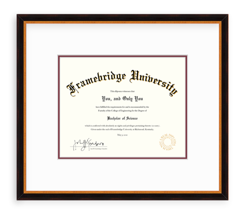 diploma in black and gold frame
