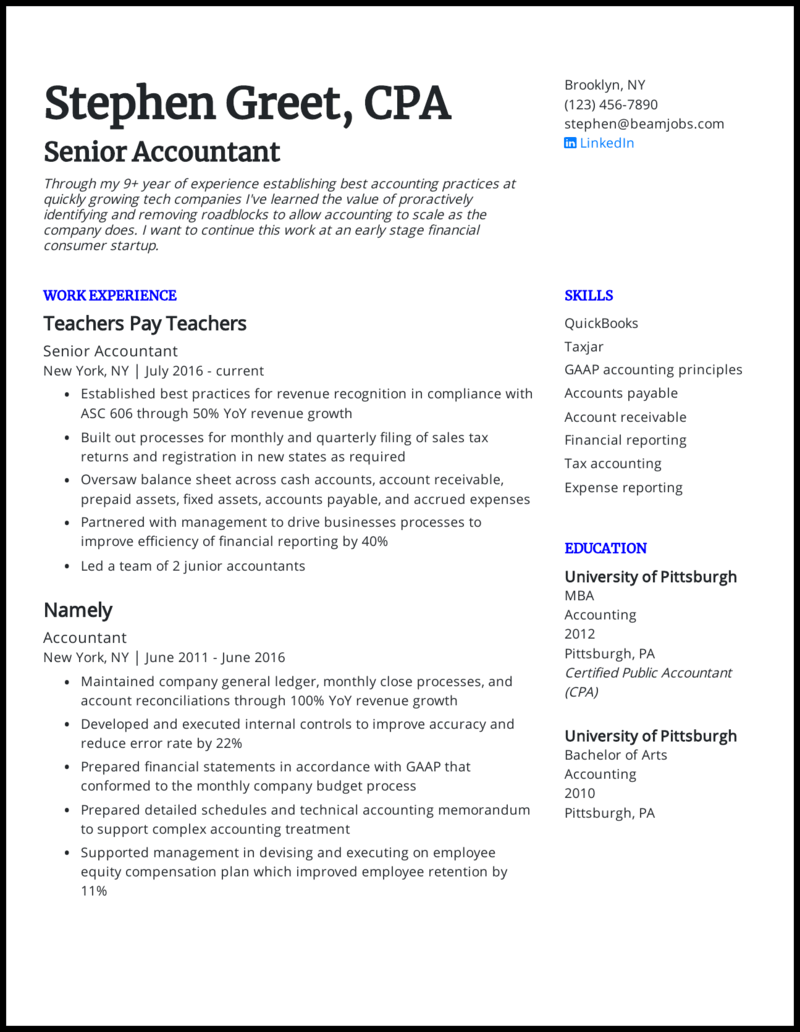accountant resume examples  accounting resume example