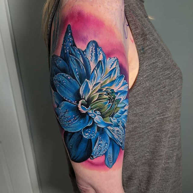 Realistic Blue Dahlia tattoo