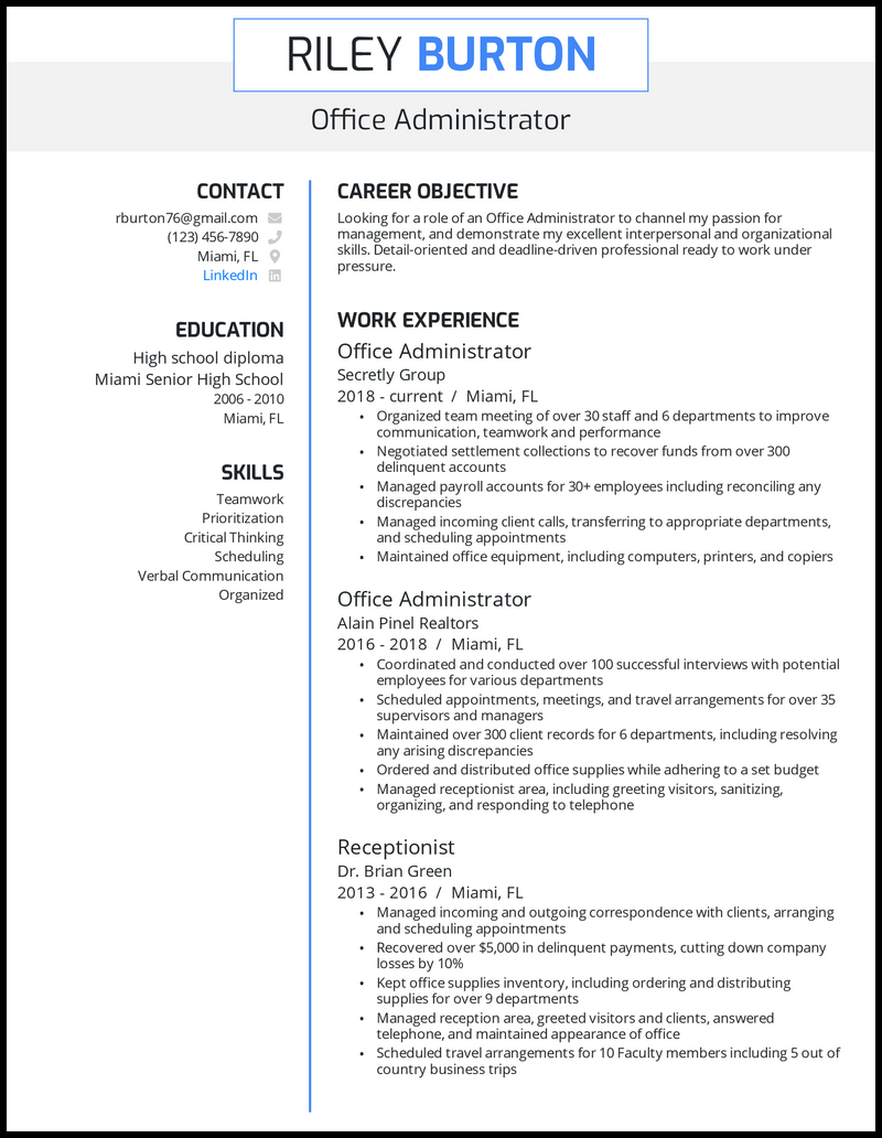 Office administrator resume with 3+ years of experience