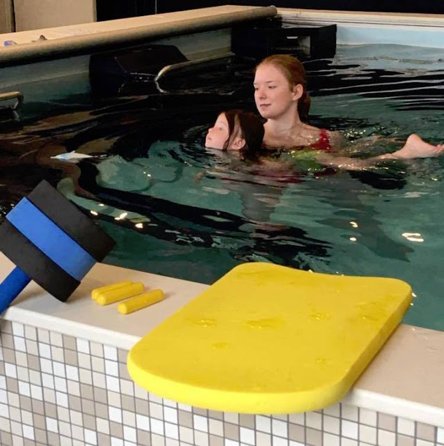 A learn-to-swim lesson in the Endless Pools swimming machine at Wise Physical Therapy and Sports Medicine