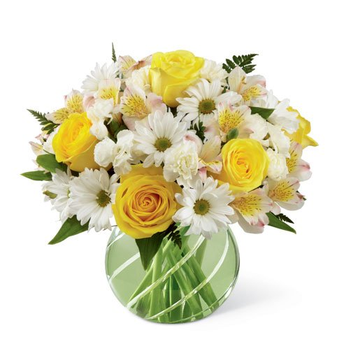 Yellow roses white daisies bouquet in a green bubble bowl flower vase