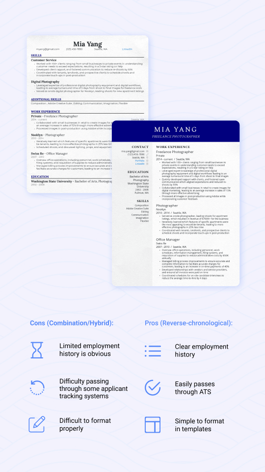 Comparison of reverse-chronological and combination/hybrid resume