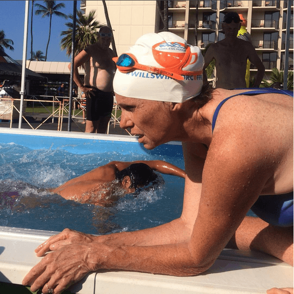 triathletes at the Endless Pool at the IRONMAN World Championship Expo