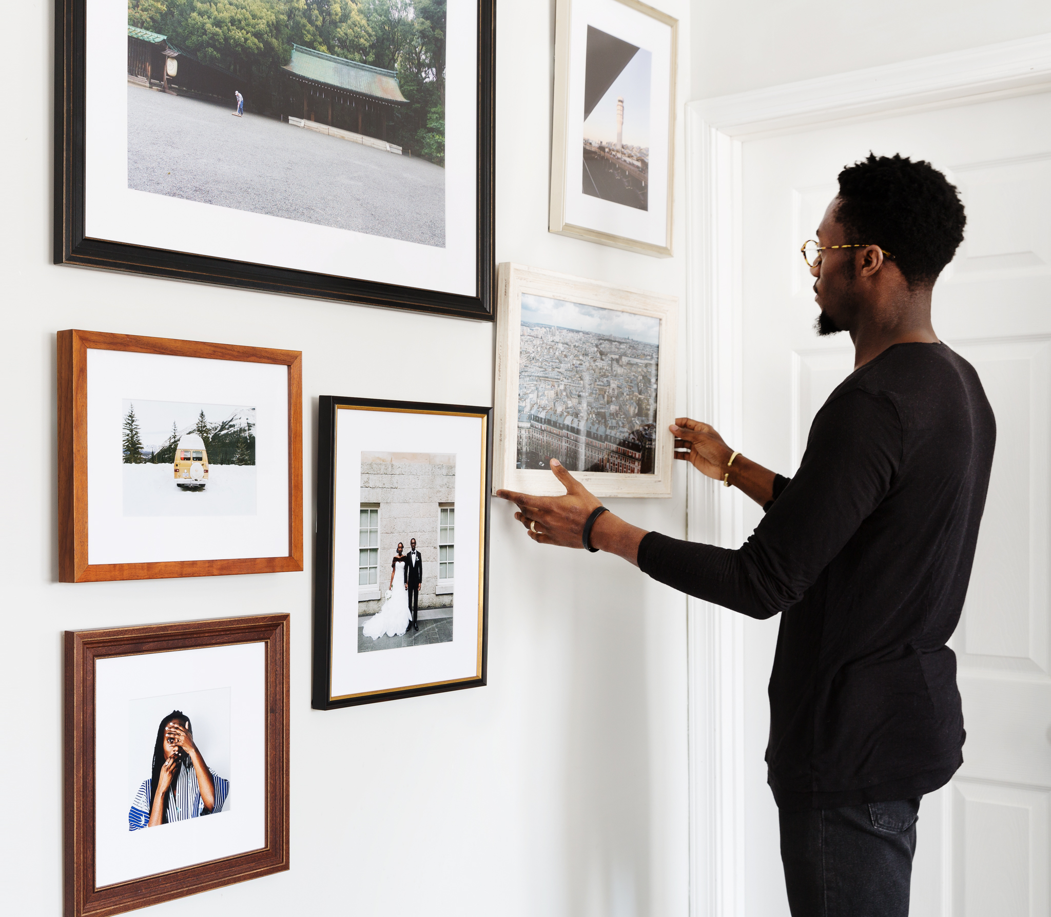 Clean, Sleek, Modern Gallery Wall of Family Photos in House in Washington D.C.
