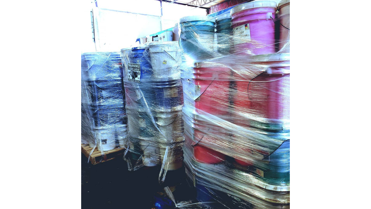 Screen printing ink in bulk.