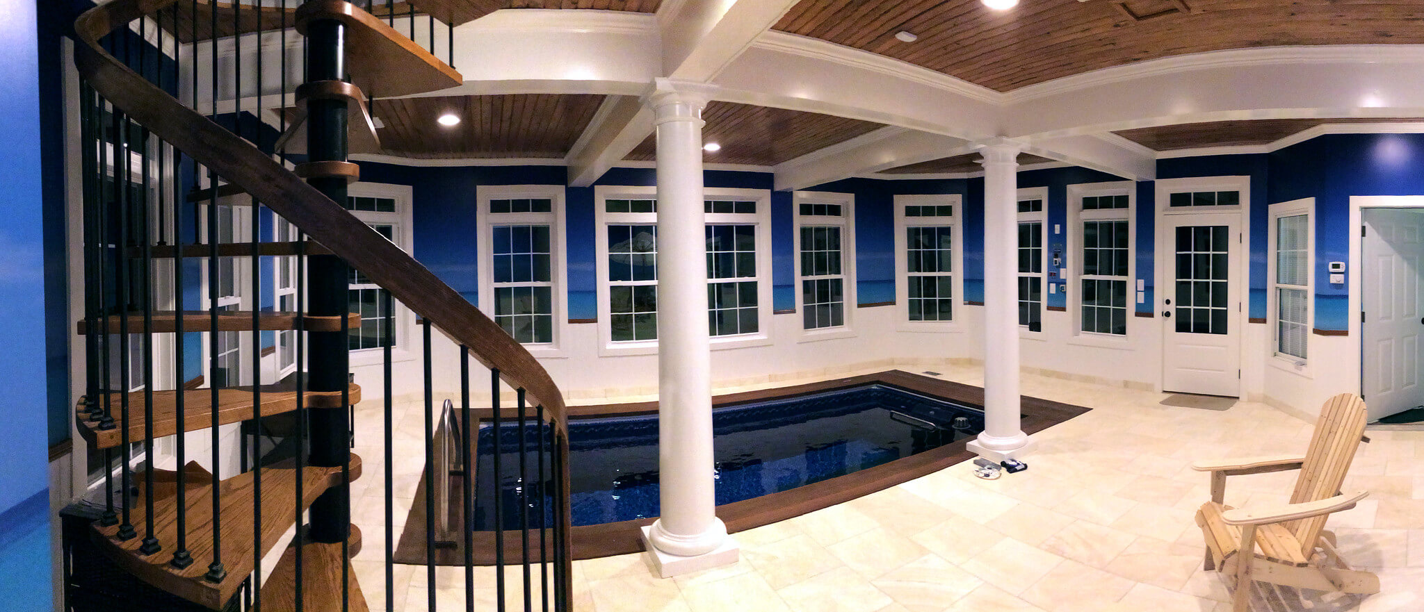 Original Endless Pool installed fully in-ground in a daylight basement
