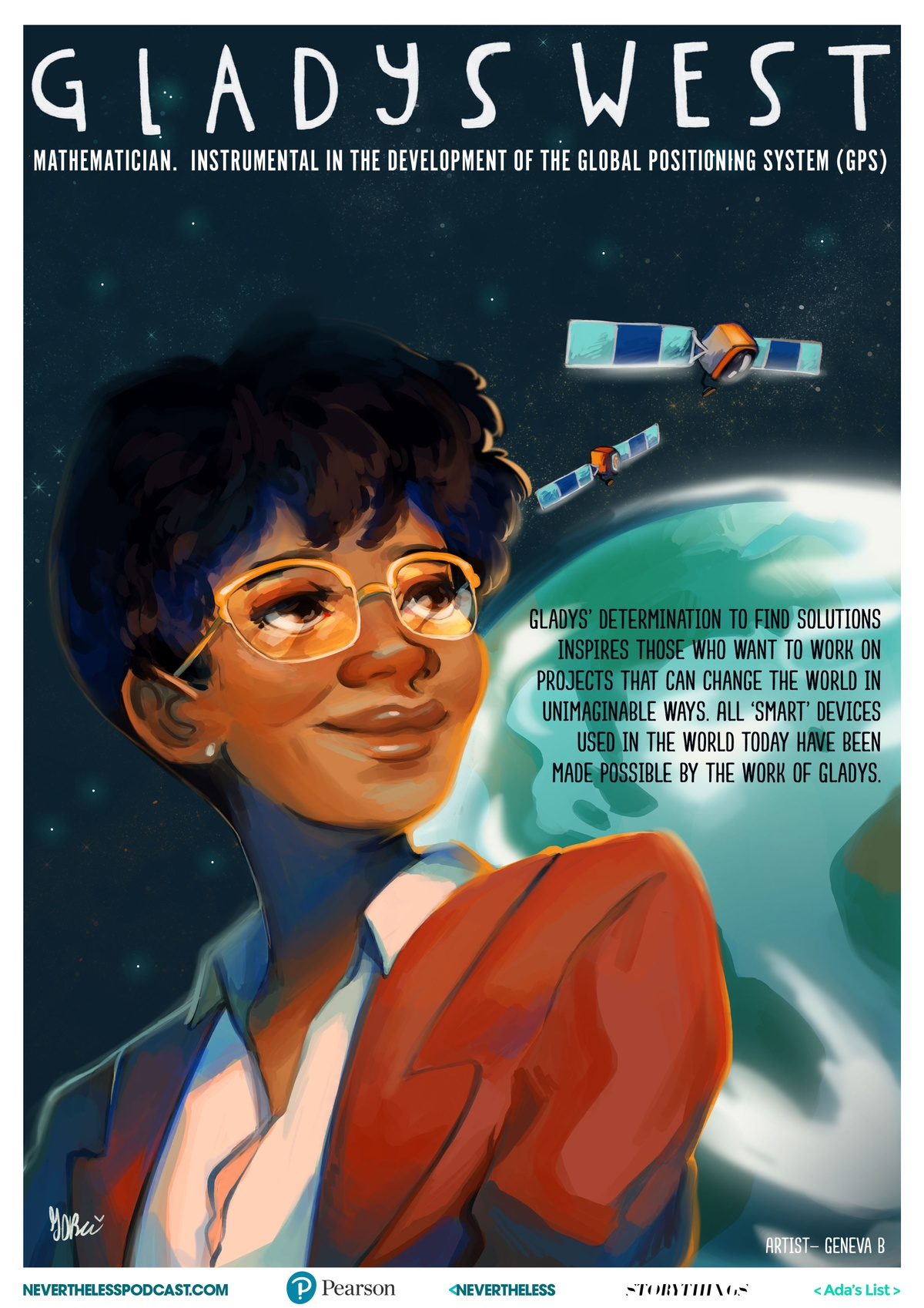 illustrated poster of Gladys West by Geneva B