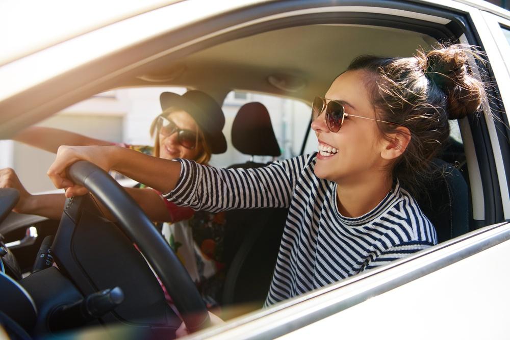 Two women in a car