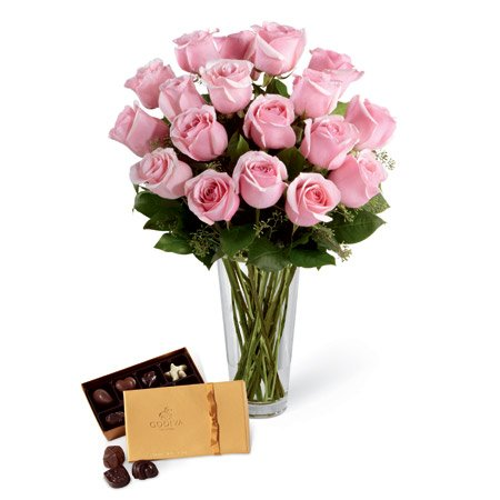 Pink roses and chocolate birthday flowers for your wife