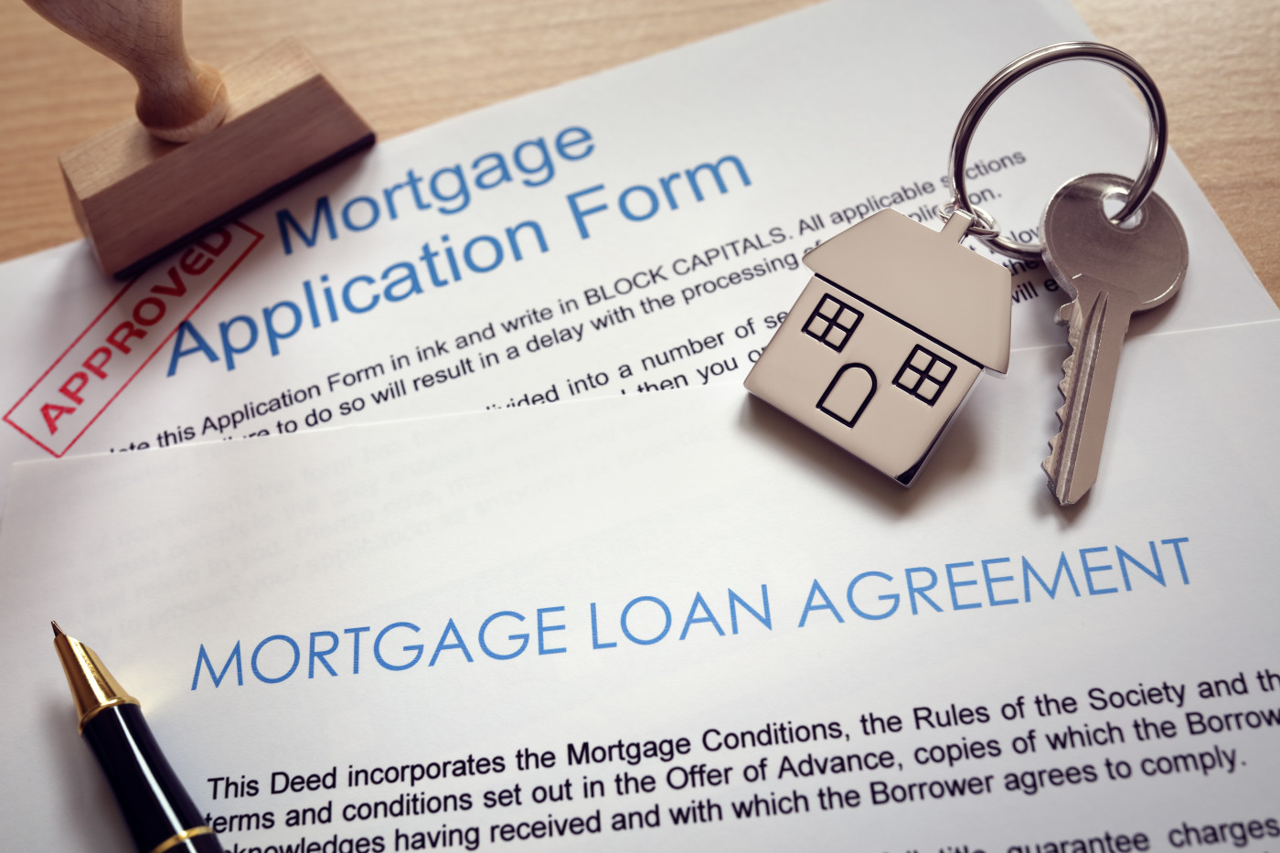 mortgage loan agreement with an approval stamp