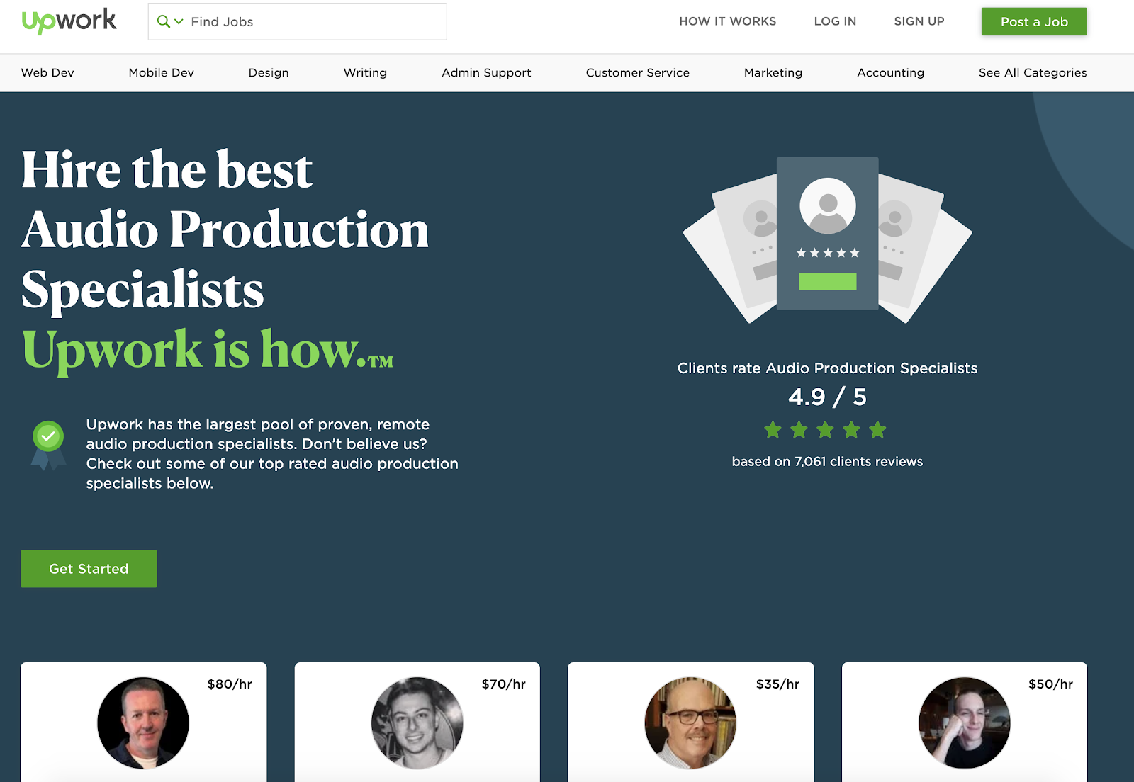 UpWork's top audio production specialists page