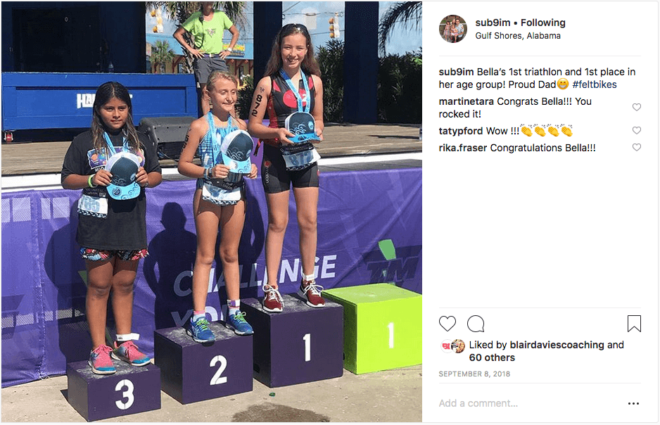 Cam's Instagram post of triathlon results
