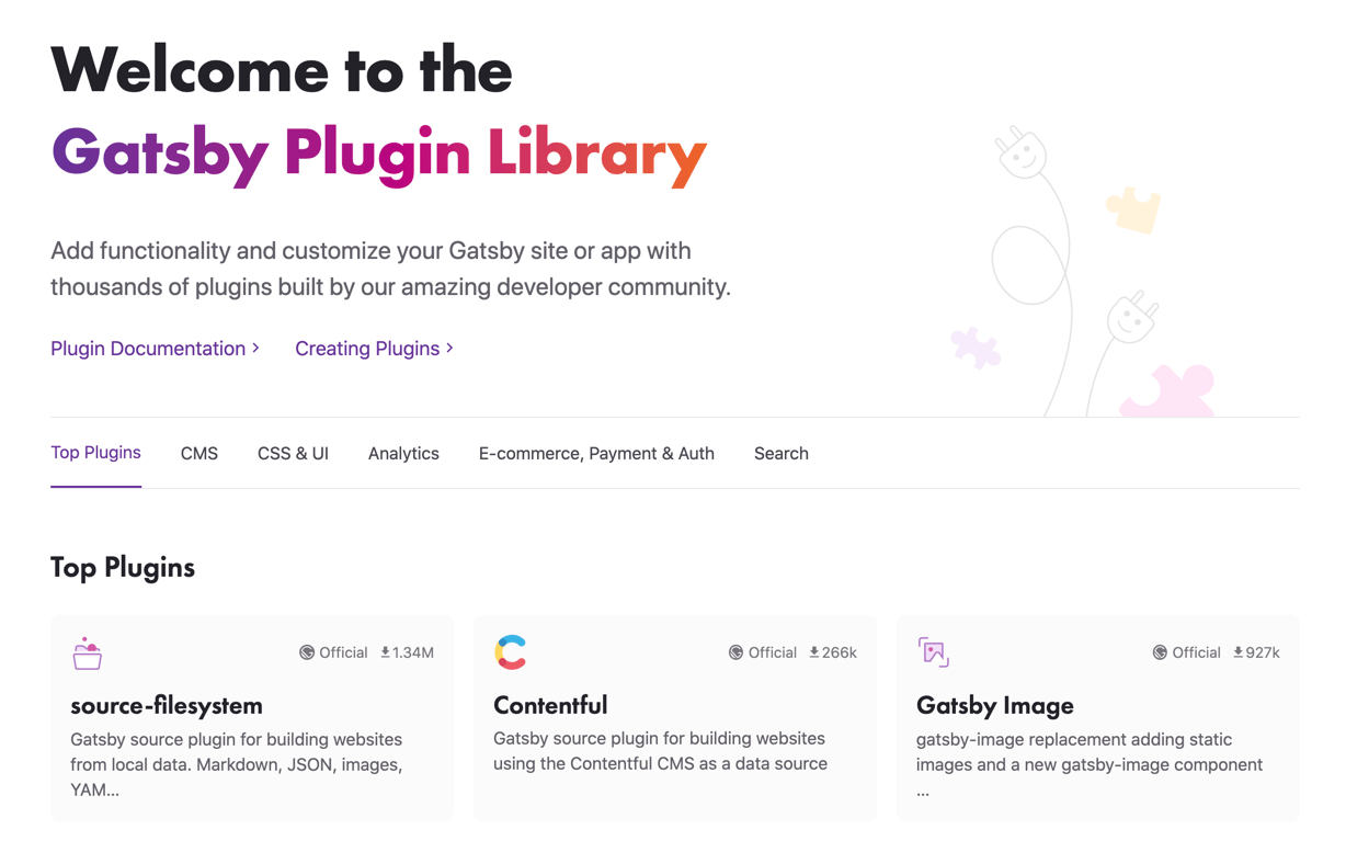 The Gatsby plugin library includes React SEO tools