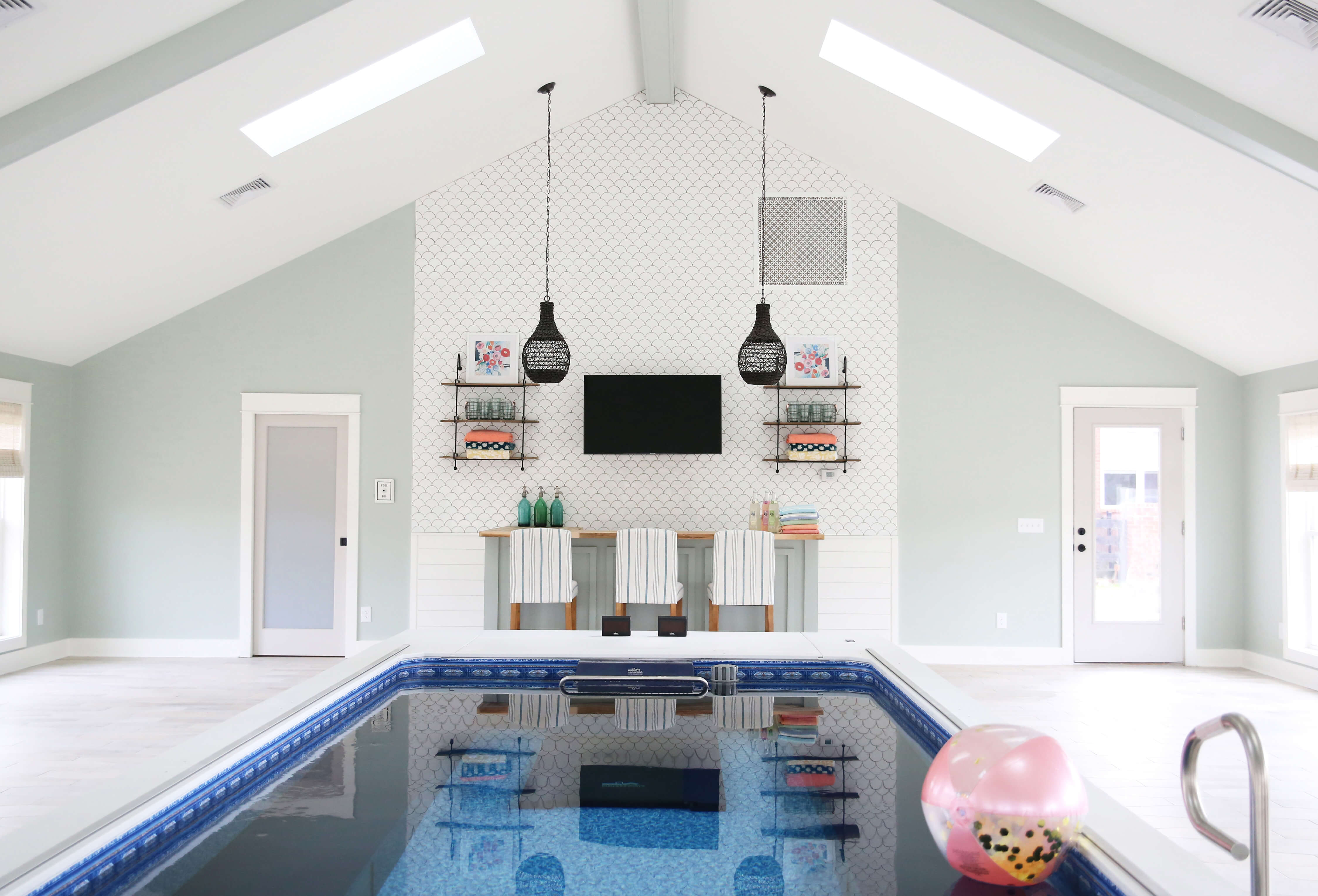 Pool House Design | Interior Designed Pool Room | Endless Pool Photos