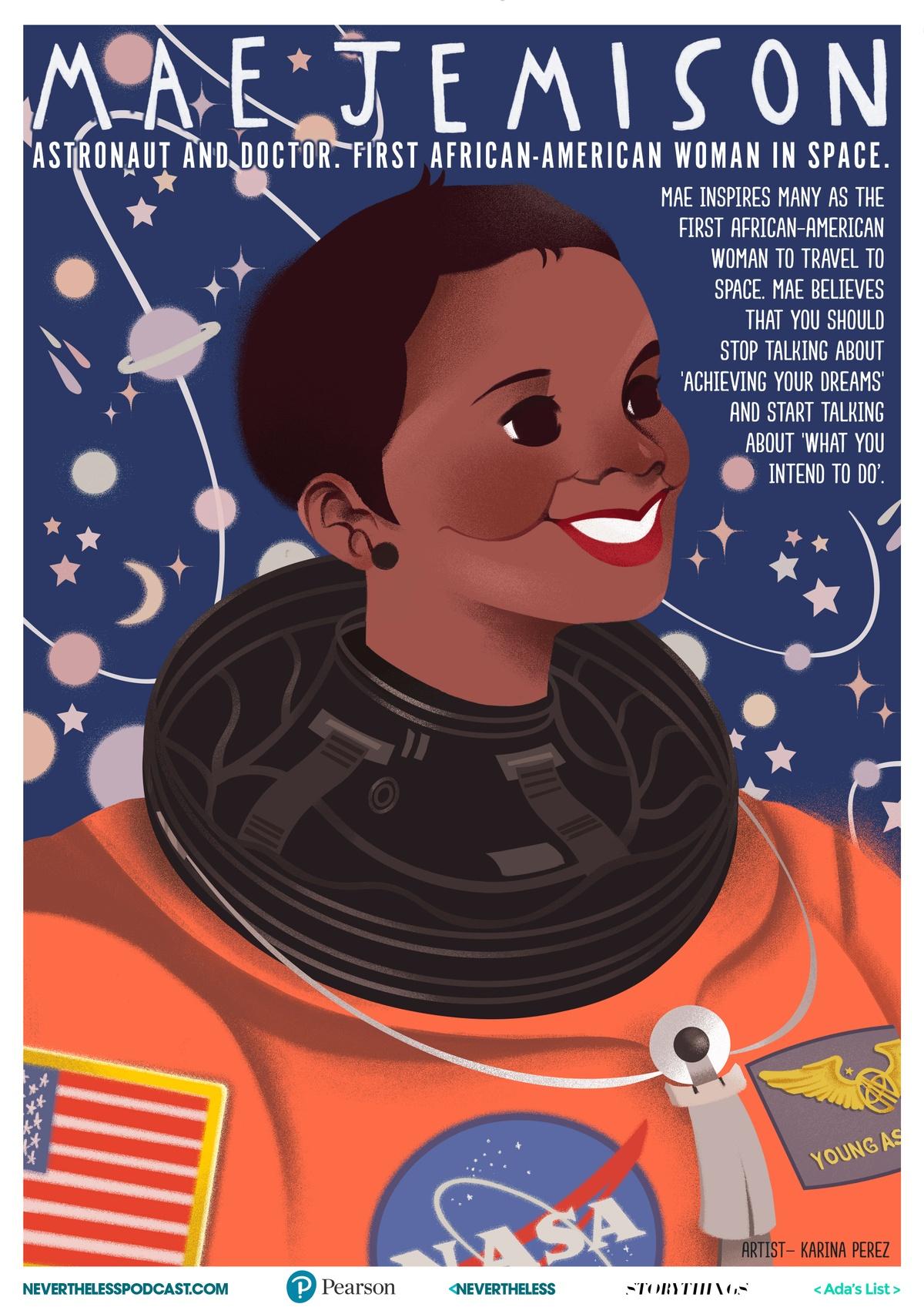 illustrated poster of Mae Jemison by Karina Perez
