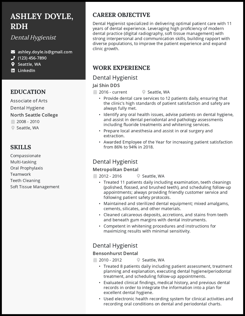 Dental Hygienist resume with 11 years of experience