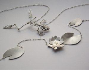 Frog Skeleton & Lilypad Necklaces