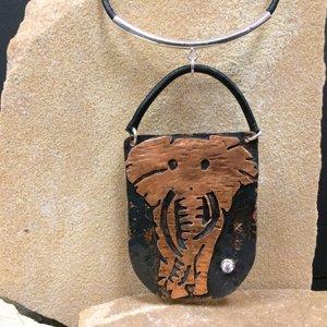 Copper Elephant Pendant by Brooke Martin