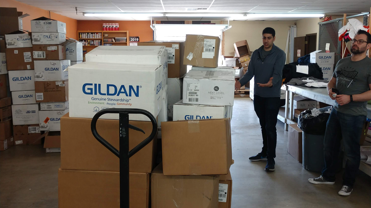 A shipment of t-shirts from Gildan at Campus Ink