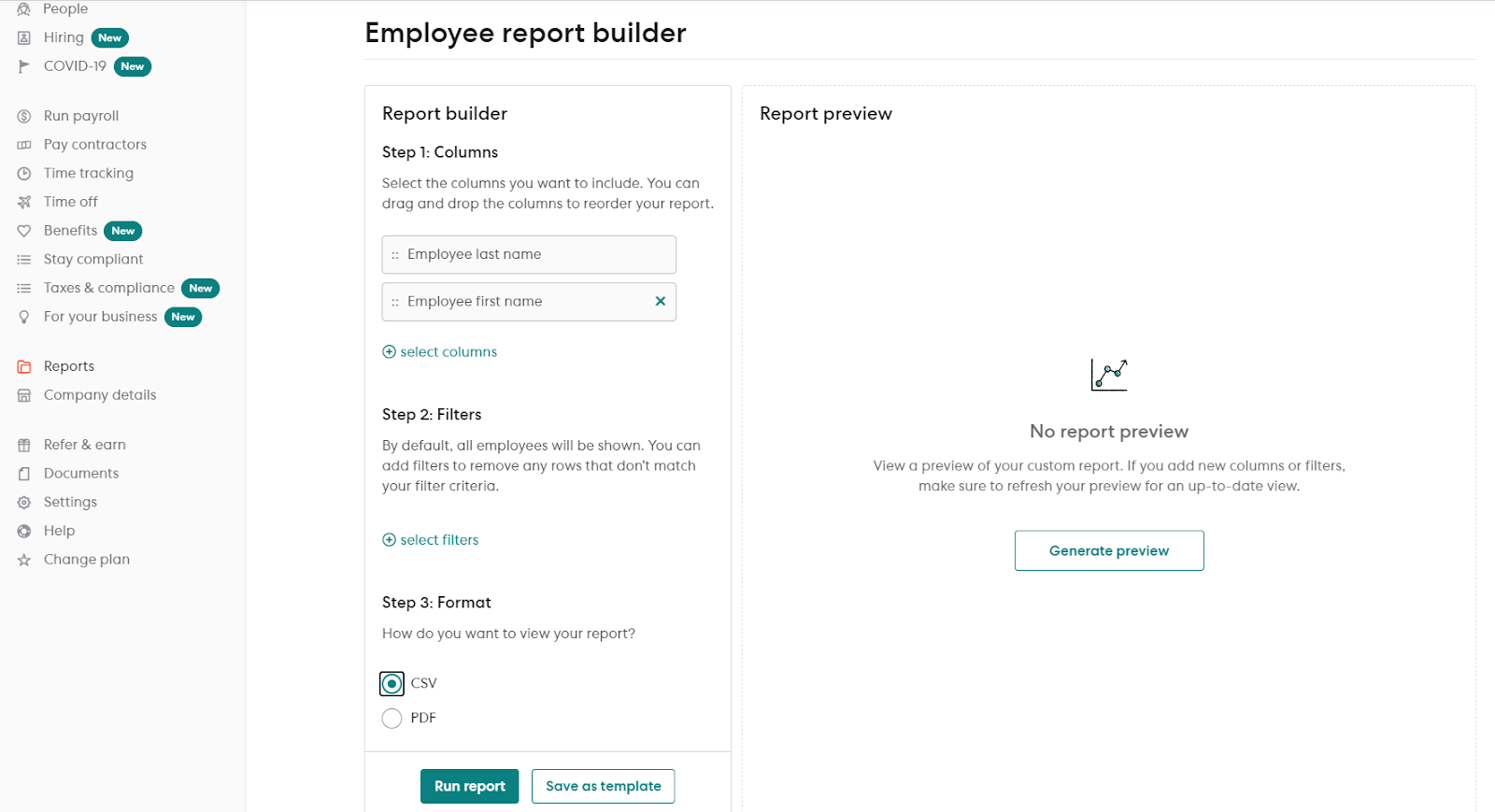 generating a CSV report from Gusto