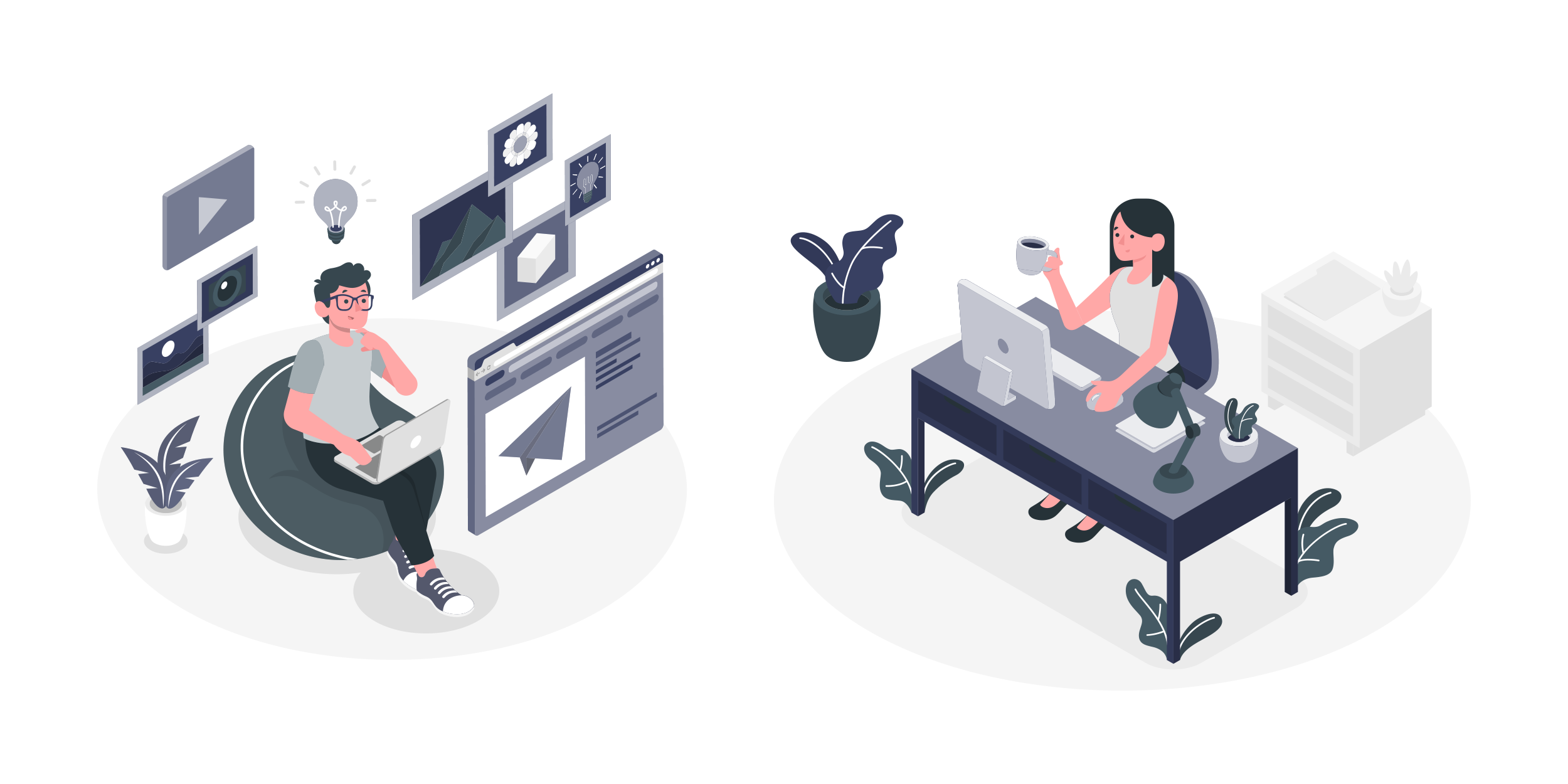 Illustration: Two people sitting at different desks. One is surrounded by notifications and updates; the other is at a casual corporate desk