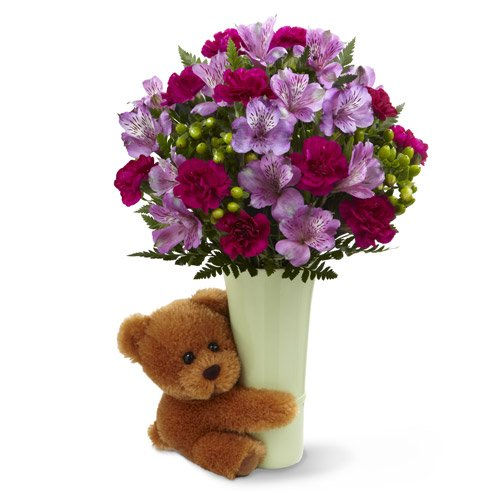 Purple alstroemeria flower bouquet with teddy bear, when to not send flowers