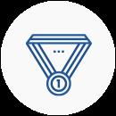 Ícone de medalha com o número 1 ao centro.