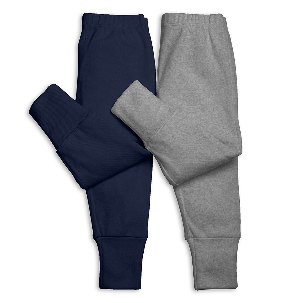 set of two cotton baby pants with convertible fold over footie cuffs for baby from Primary
