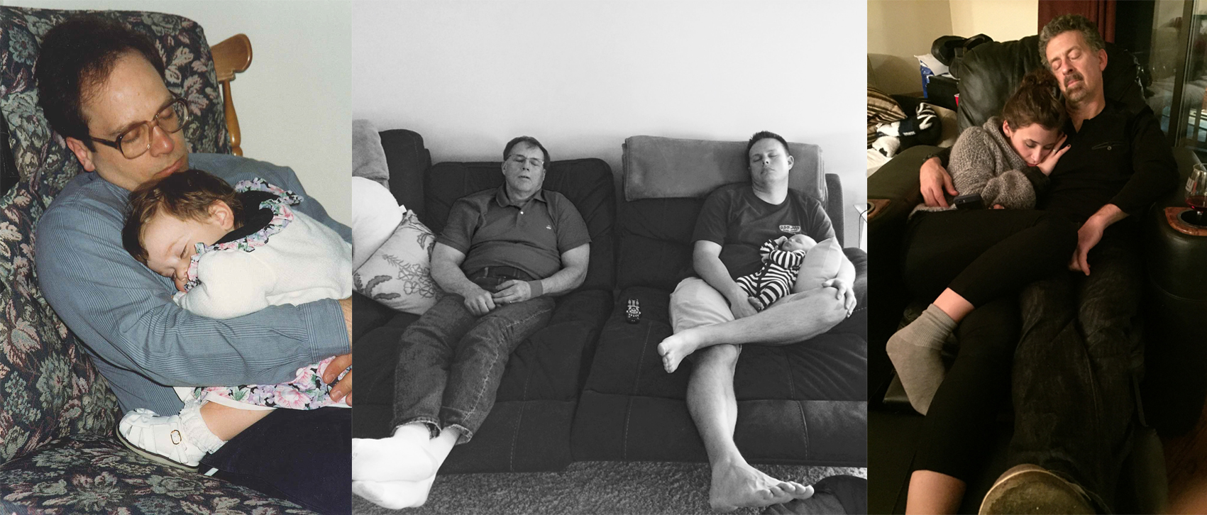 3 images of dads napping with their children, some infants some teenagers