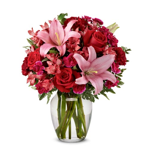 Birthday flowers for your wife hot pink rose and lily bouquet