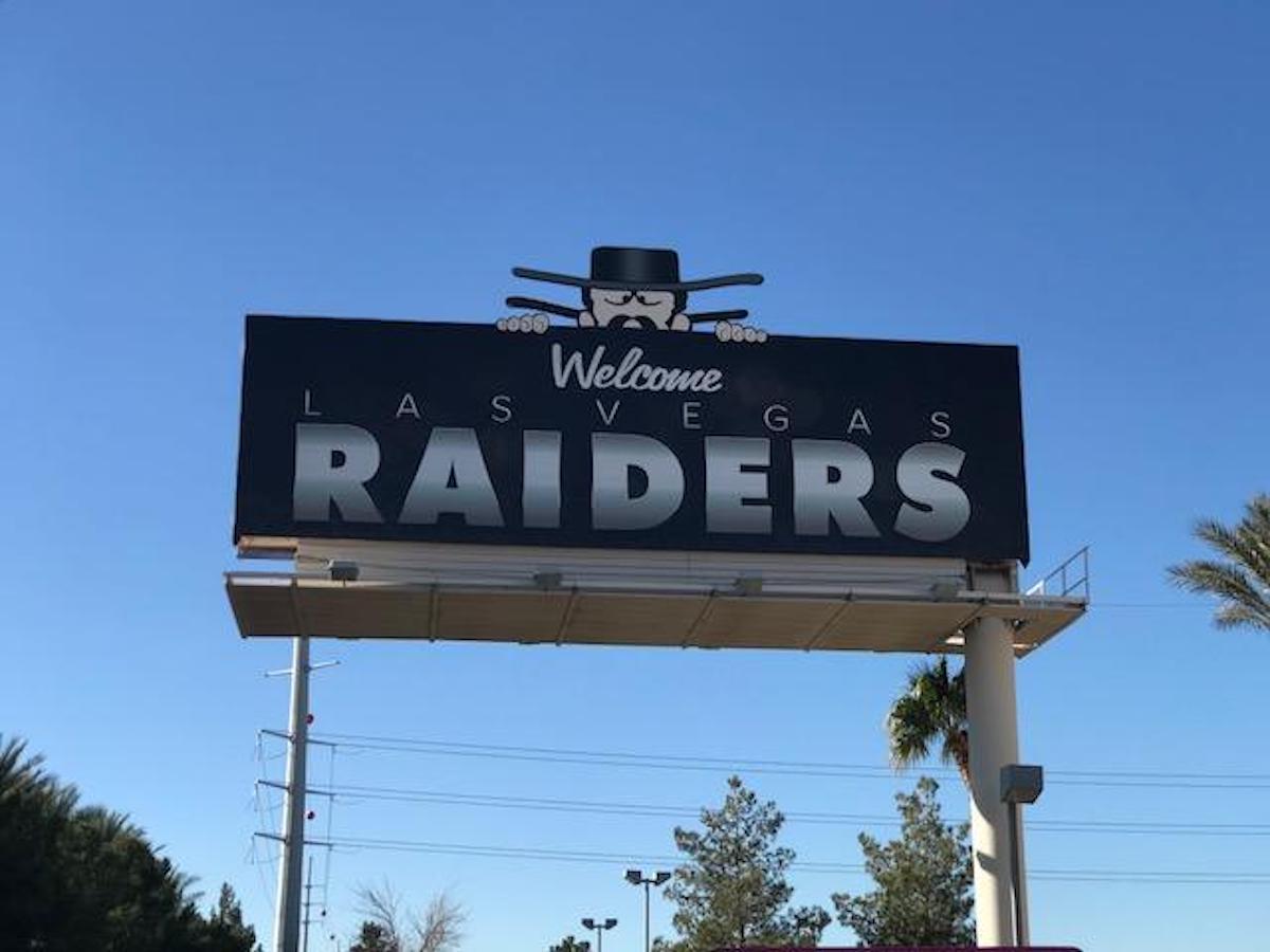 New Las Vegas Raiders football team welcome sign
