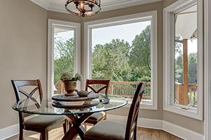 Interior casement replacement fiberglass windows in dining room