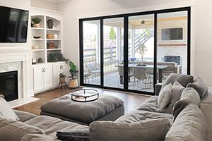 Living room with fiberglass sliding patio door