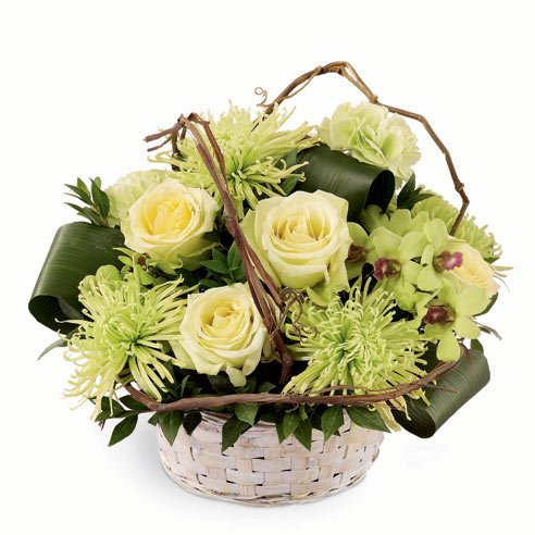 Jade light green roses and jade green chrysanthemums bouquet