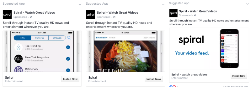MightySignal detected these Facebook ads for Spiral