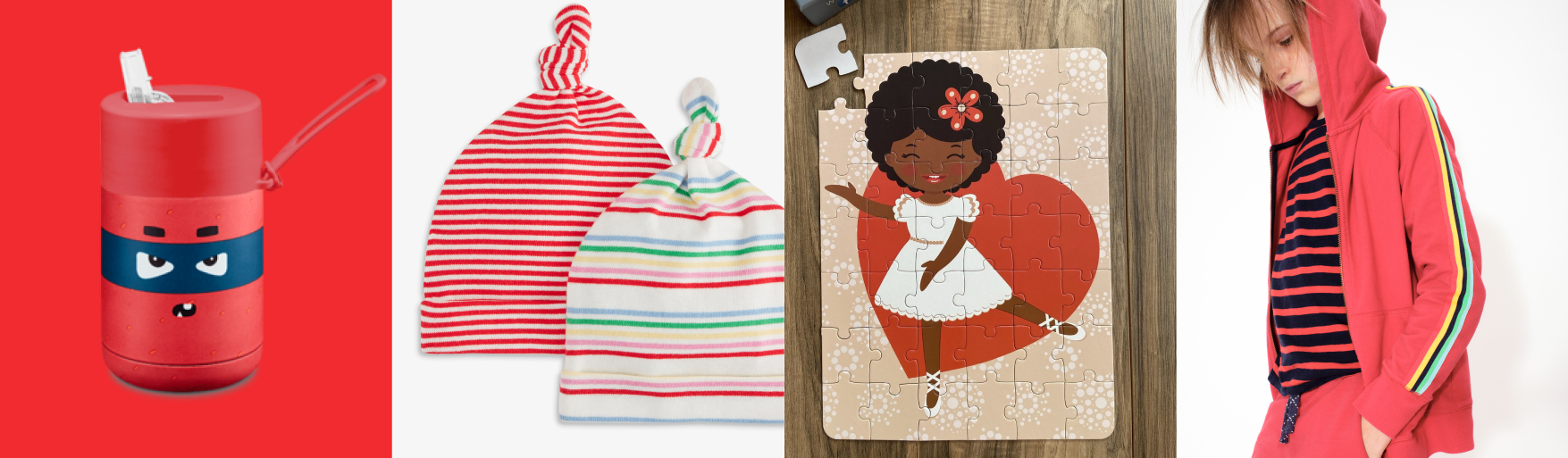 row of red portable cup, baby hats, ballerina puzzle, and child wearing red hoodie with a striped shirt