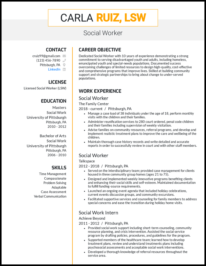 Social Worker resume with 10 years of experience