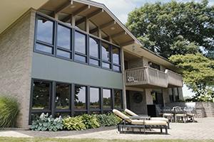Special shape fiberglass windows on exterior of home