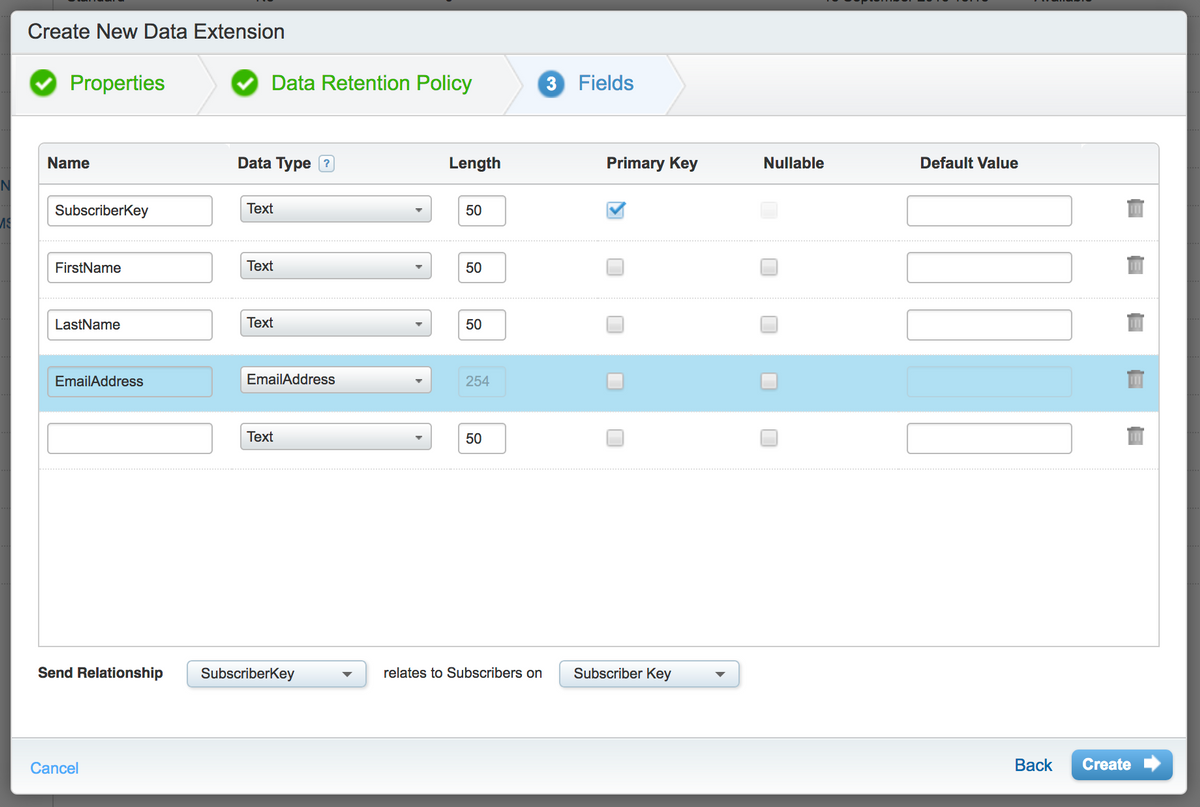 Create new Data Extension