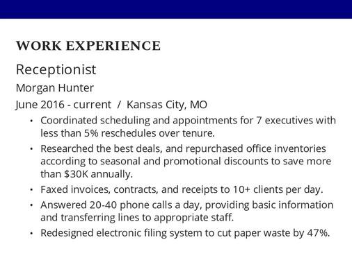 Receptionist resume example with quantifiable job descriptions