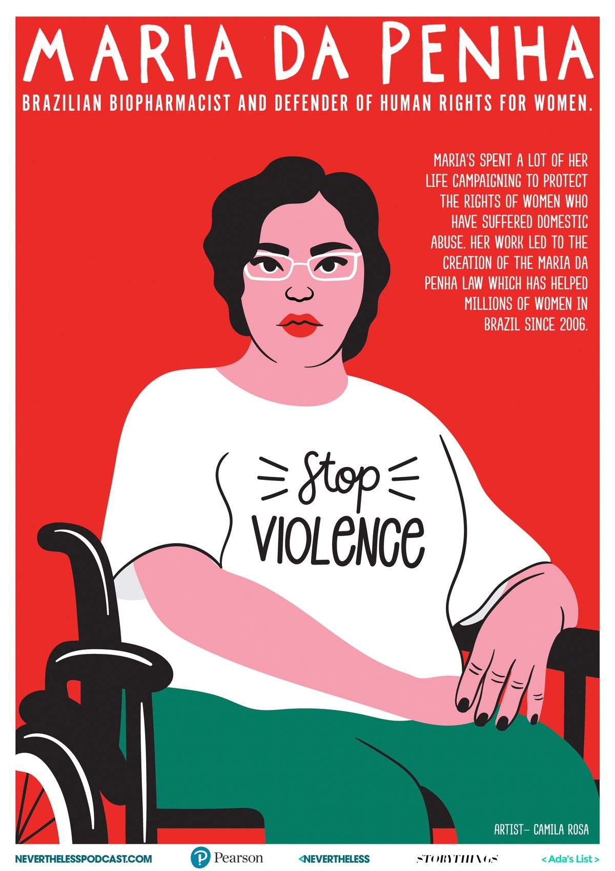 illustrated poster of Maria Da Penha by Camila Rosa