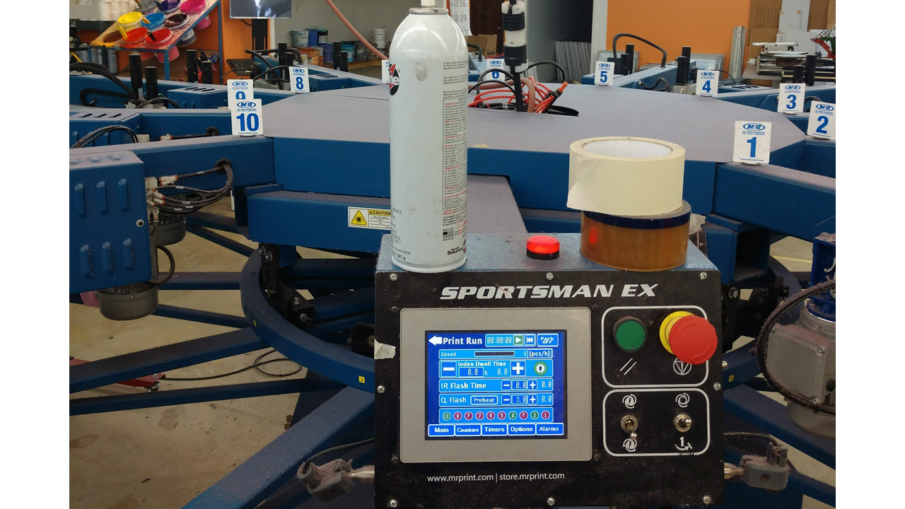 The digital control panel on an M&R Sportsman automatic screen printing machine.