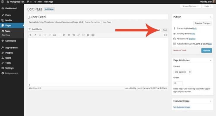 WordPress social media plugin text button