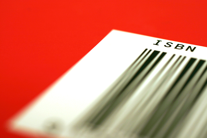 A closeup photo of a textbook ISBN